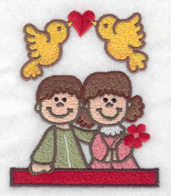 Embroidery Design: Children with love birds 2.92w X 3.52h