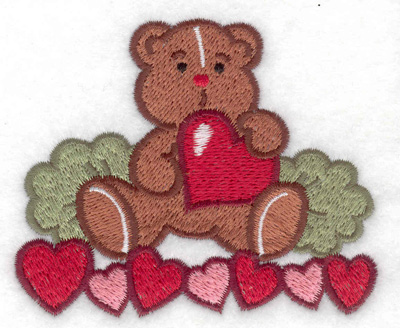 Embroidery Design: Teddy bear with hearts 3.52w X 2.95h