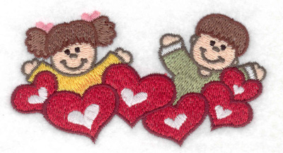 Embroidery Design: Children with hearts 3.87w X 2.10h