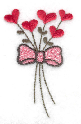 Embroidery Design: Floral hearts with bow 1.91w X 3.08h