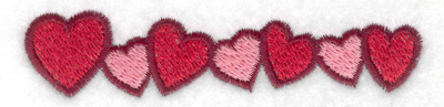 Embroidery Design: Hearts in a row 3.87w X 0.87h
