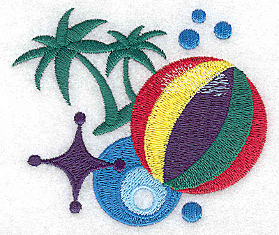 Embroidery Design: Beach Ball and palms small 3.50w X 2.98h
