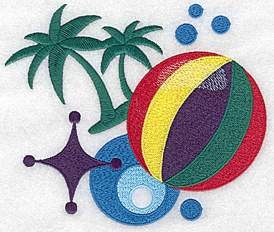 Embroidery Design: Beach Ball and palms large 5.88w X 4.98h