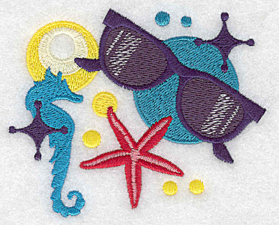 Embroidery Design: Sunglasses and seahorse small 3.83w X 3.10h