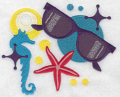 Embroidery Design: Sunglasses and seahorse large 6.15w X 4.97h