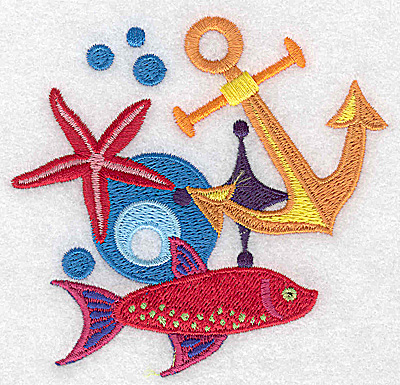 Embroidery Design: Anchor starfish and fish small 3.89w X 3.69h