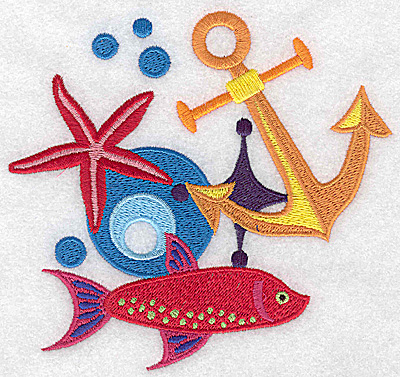 Embroidery Design: Anchor starfish and fish large 5.25w X 4.97h