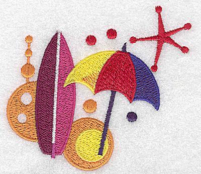 Embroidery Design: Beach umbrella and surf board small 3.51w X 3.26h