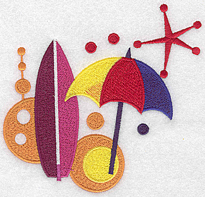 Embroidery Design: Beach umbrella and surf board large 5.37w X 4.98h