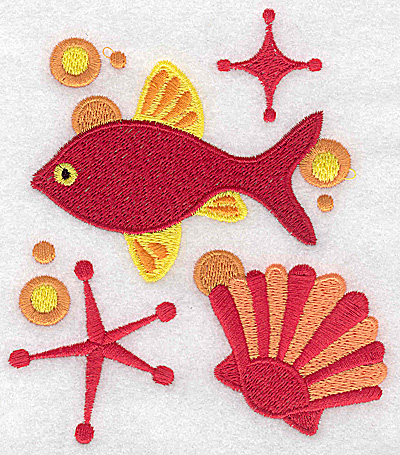 Embroidery Design: Fish and seashell large 4.34w X 4.97h