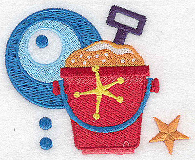 Embroidery Design: Beach pail and shovel small 3.53w X 2.95h