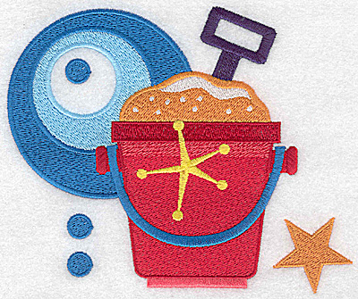 Embroidery Design: Beach pail and shovel large 5.91w X 4.93h