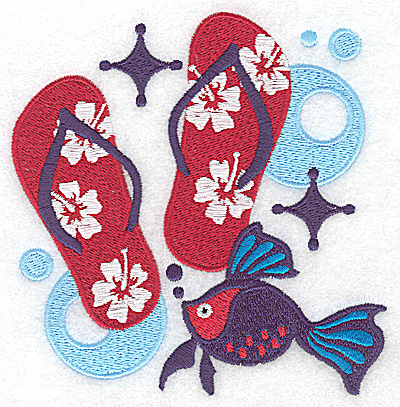 Embroidery Design: Flip-flops large 4.82w X 4.95h