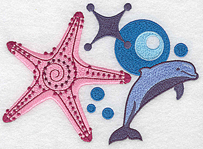 Embroidery Design: Starfish and dolphin large 6.73w X 4.82h