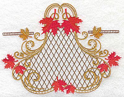 Embroidery Design: Victorian fall leaf design 1 6.47w X 4.90h