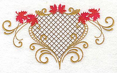Embroidery Design: Victorian fall leaf design 2 6.96w X 4.06h