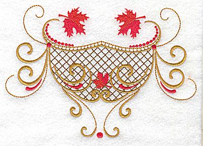 Embroidery Design: Victorian fall leaf design 6 6.91w X 4.79h