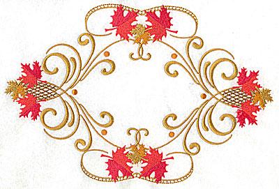 Embroidery Design: Victorian fall leaf design 11 10.09w X 6.76h