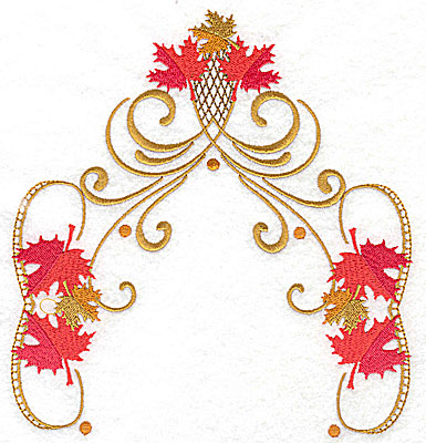 Embroidery Design: Victorian fall leaf design 12 6.76w X 7.21h