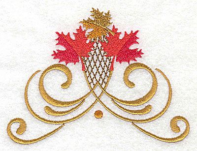 Embroidery Design: Victorian fall leaf design 14 4.50w X 3.36h