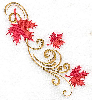 Embroidery Design: Victorian fall leaf design 16 4.36w X 4.49h