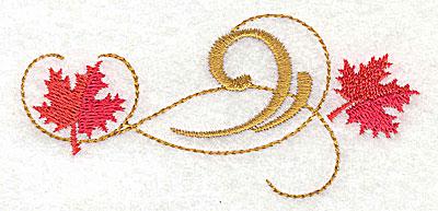 Embroidery Design: Victorian fall leaf design 26 3.83w X 1.77h