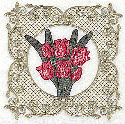 Embroidery Design: Victorian Tulip bouquet A large 4.96w X 4.96h