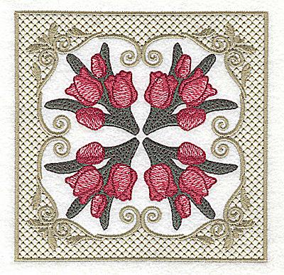 Embroidery Design: Four corners tulip design 4.94w X 4.94h