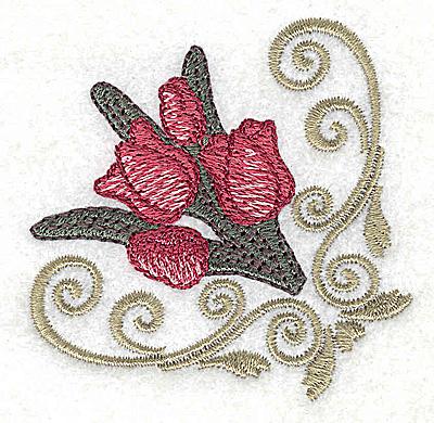 Embroidery Design: Tulip corner design 2.50w X 2.51h