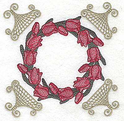 Embroidery Design: Tulip circle with corner lace 4.97w X 4.97h