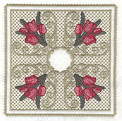 Embroidery Design: Victorian Tulips bouquets C large 4.95w X 4.95h