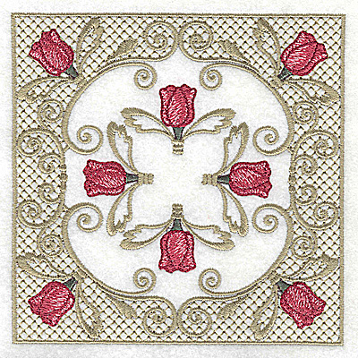 Embroidery Design: Eight tulip heads in Victorian design 4.97w X 4.97h