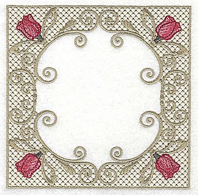 Embroidery Design: Four tulip heads in Victorian design 4.97w X 4.97h