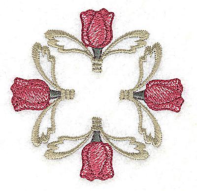 Embroidery Design: Four tulip head design 2.83w X 2.83h