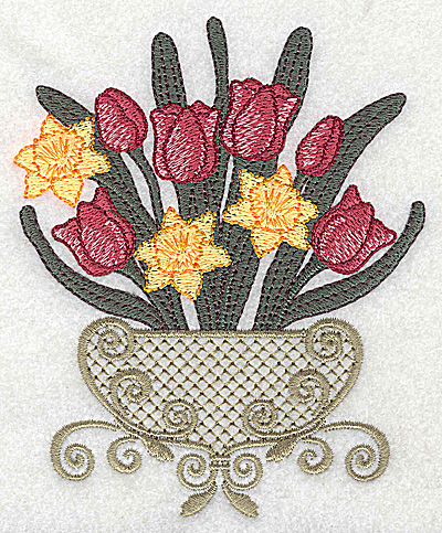 Embroidery Design: Tulip and daffodil bouquet large 4.05w X 4.93h