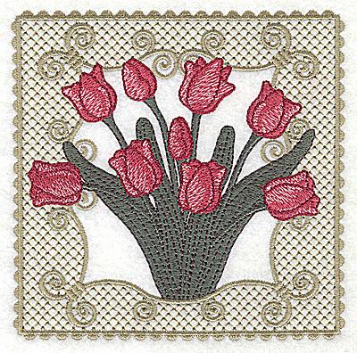 Embroidery Design: Victorian Tulip bouquet D large 4.96w X 4.96h