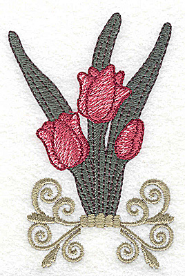 Embroidery Design: Tulips on stand large 2.50w X 3.83h
