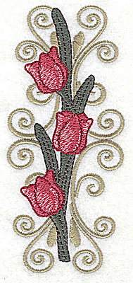 Embroidery Design: Tulip trio on Victorian sconce large  2.19w X 4.91h