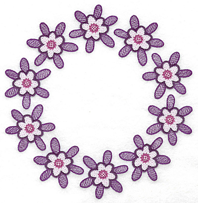 Embroidery Design: Circle of flowers 6.99w X 7.18h
