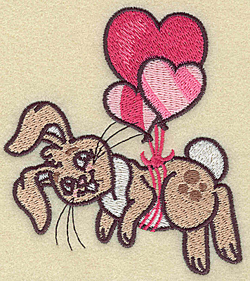 Embroidery Design: Bunny hanging from balloons small 3.42w X 3.89h