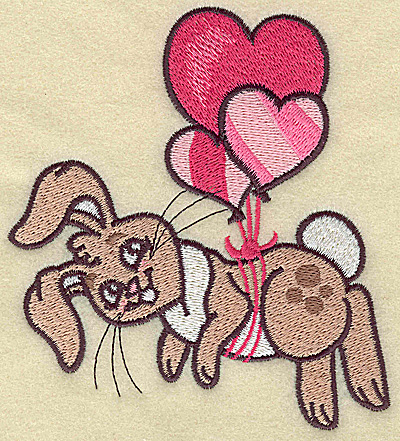 Embroidery Design: Bunny hanging from balloons large 4.37w X 4.98h