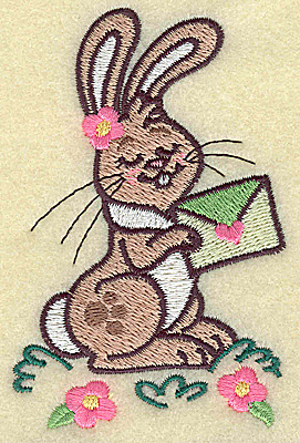 Embroidery Design: Bunny holding envelope small 2.53w X 3.89h