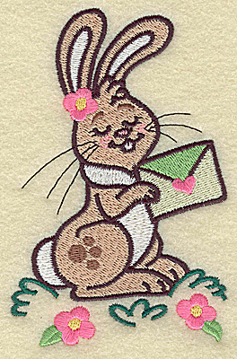 Embroidery Design: Bunny holding envelope large 3.24w X 4.97h