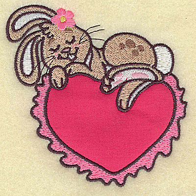 Embroidery Design: Bunny sleeping on heart applique small 3.83w X 3.80h