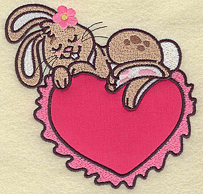 Embroidery Design: Bunny sleeping on heart applique large 4.90w X 4.86h