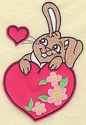 Embroidery Design: Bunny resting on floral hearts appliques 6.94w X 4.65h