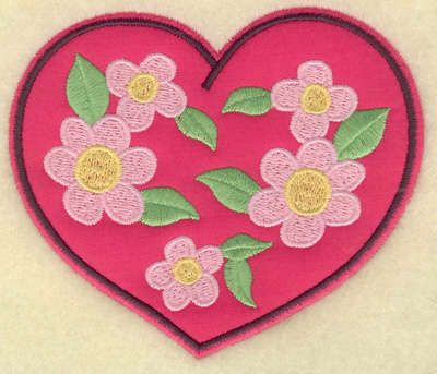 Embroidery Design: Floral applique heart 4.41w X 3.70h