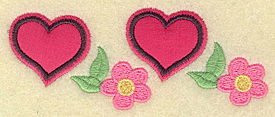 Embroidery Design: Applique hearts and flowers 4.26w X 1.70h