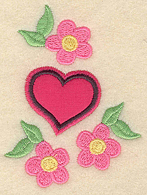 Embroidery Design: Applique heart and flowers 2.70w X 3.61h