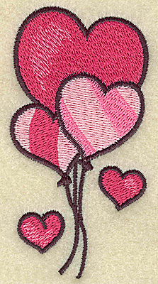 Embroidery Design: Balloon hearts 1.98w X 3.83h